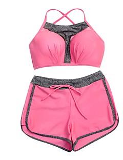 billige Bikinier og damemote 2017-Dame Sporty / Grunnleggende Med stropper / Løse skuldre forms Bikini - Åpen rygg / Kryss, Boy Leg Ensfarget