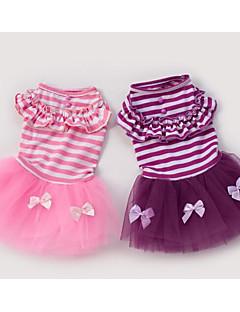 billiga Hundkläder-Hund Jumpsuits Hundkläder Randig / Rosett Purpur / Rosa Cotton Kostym För husdjur Dam Stilig