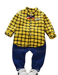 billige Tøjsæt til drenge-Børn / Baby Drenge Ternet Langærmet Tøjsæt