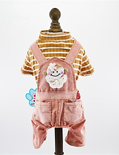 billiga Hundkläder-Hund / Katt / Husdjur Jumpsuits Hundkläder Rand / Kanin / Djur Grå / Rosa Bomull / Polyester Kostym För husdjur Herr One Piece / Trendig