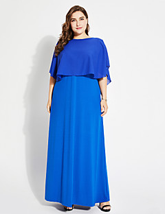 billige Damekjoler-Dame Løstsittende T skjorte Kjole - Ensfarget, Drapering Maksi