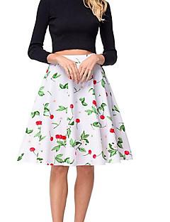 billige Skjørt-kvinner over kneet svinge skjørt - blomstret