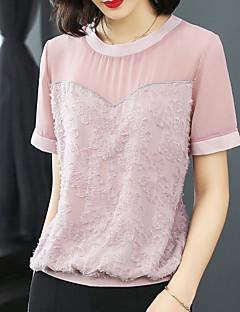 billige T-shirt-Dame - Ensfarvet Blonder Sødt Basale T-shirt