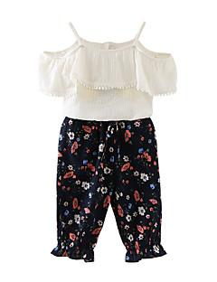 billige Tøjsæt til piger-Børn Pige Ensfarvet / Trykt mønster Kortærmet Tøjsæt