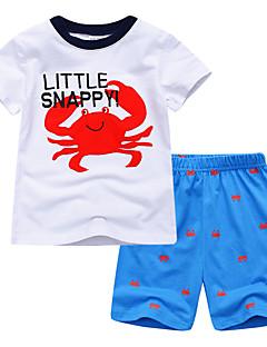 billige Tøjsæt til drenge-Baby Drenge Blå & Hvid Trykt mønster / Farveblok Kortærmet Tøjsæt