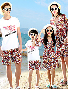 billige Sett med familieklær-Voksen Familie Look Geometrisk Kortermet T-skjorte