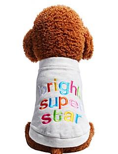 billiga Hundkläder-Hund Katt Husdjur T-shirt Hundkläder Enkel Broderi Citat och ordspråk Mörkblå Grå Bomull / Polyester Kostym För husdjur Dam Ledigt /