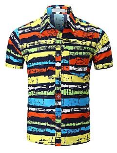 billige Herremote og klær-Skjorte Herre - Stripet / Regnbue, Trykt mønster Aktiv / Grunnleggende Svart & Rød