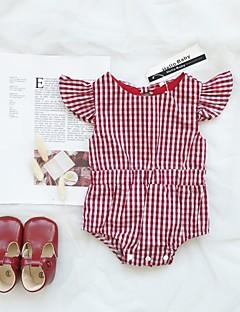 billige Babytøj-Baby Pige Sort & Rød Houndstooth mønster Kort Ærme En del
