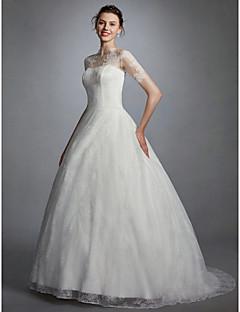 billiga Balbrudklänningar-Balklänning Hög hals Svepsläp Spets Bröllopsklänningar tillverkade med Applikationsbroderi av LAN TING BRIDE® / Illusion