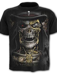 Χαμηλού Κόστους Αντρικά Ρούχα-Ανδρικά T-shirt Κρανίο Εξωγκωμένος Συνδυασμός Χρωμάτων Νεκροκεφαλές Στάμπα