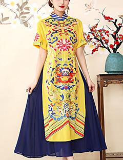 Χαμηλού Κόστους 8CFAMILY-Γυναικεία Βίντατζ / Κινεζικό στυλ Swing Φόρεμα - Γεωμετρικό, Σκίσιμο / Κεντητό Μίντι
