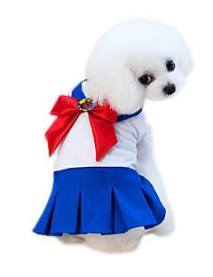 billiga Hundkläder-Husdjur Klänningar Hundkläder Färgblock / Lappverk / Blomma Blå / Rosa Bomull / Polyester Kostym För husdjur Blomstil / Rosett
