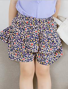 billige Babytøj-Baby Pige Aktiv Blomstret Drapering Bomuld Shorts