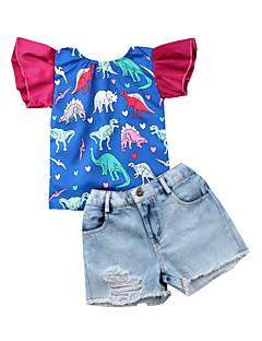 billige Tøjsæt til piger-Baby Pige Trykt mønster / Farveblok / Patchwork Kortærmet Tøjsæt