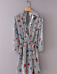 billige Jumpsuits og sparkebukser til damer-Dame Sparkedrakter - Stripet / Blomstret Skjortekrage