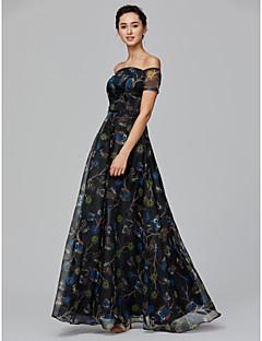 billige Mønstrede og ensfargede kjoler-A-linje Løse skuldre Gulvlang Organza Formell kveld / Ferie Kjole med Mønster / trykk av TS Couture®