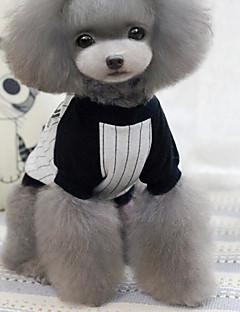 billiga Hundkläder-Hund / Katt T-shirt Hundkläder Randig / Tecknat Grå Cotton Kostym För husdjur Dam Sport och utomhus / Vanlig
