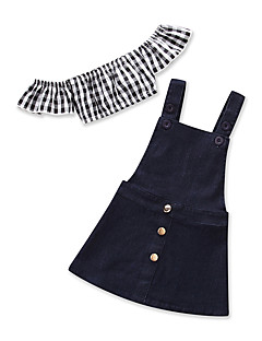 billige Tøjsæt til piger-Baby Pige Trykt mønster Patchwork Kortærmet Tøjsæt