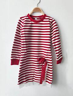 billige Pigetoppe-Pige T-shirt Daglig Stribet Patchwork, Bomuld Forår Efterår Langærmet Stribet Rosette Blonde Sort Rød
