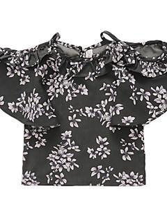 billige Pigetoppe-Børn Pige Blomstret Halvlange ærmer Bluse