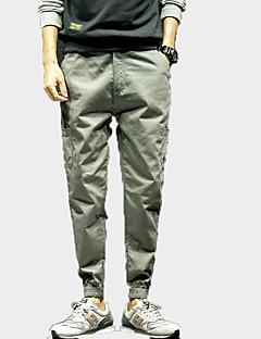 billige Herre Mode Beklædning-Herre Bomuld Løstsiddende Chinos Bukser Ensfarvet