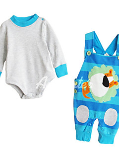 billige Sett med babyklær-Baby Unisex Stribet Langærmet Tøjsæt