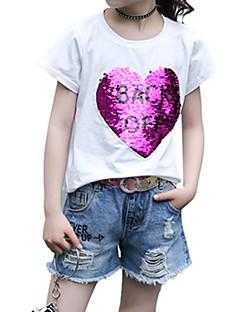 billige Pigetoppe-Børn Pige Patchwork Kortærmet T-shirt
