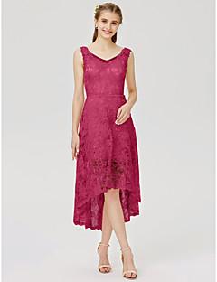 billige Romantisk rosa-A-linje / Prinsesse Med stropper Asymmetrisk Heldekkende blonder Brudepikekjole med Appliqué / Plissert av LAN TING BRIDE®