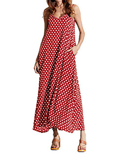 cheap Maxi Dresses-Women's Plus Size Chiffon / Swing Dress - Solid Colored / Polka Dot Maxi Strap