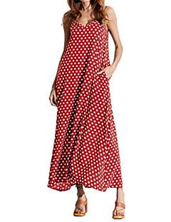 billige Kjoler-Dame Plusstørrelser Chiffon / Swing Kjole - Ensfarvet / Prikker Maxi Med stropper