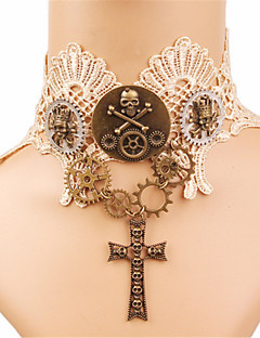 billiga Lolitamode-Gotiskt Vit lolita tillbehör Vintage Spets Halsband Spets Halloweenkostymer