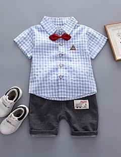 billige Tøjsæt til piger-Baby Unisex Farveblok / Houndstooth mønster Kortærmet Tøjsæt