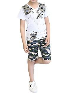 billige Tøjsæt til drenge-Børn Unisex Sort og hvid Trykt mønster Kortærmet Tøjsæt