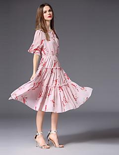 Χαμηλού Κόστους Γυναικεία Φορέματα-Γυναικεία Χαριτωμένο Flare μανίκι Σιφόν / Swing Φόρεμα - Φλοράλ, Φιόγκος / Patchwork Ως το Γόνατο