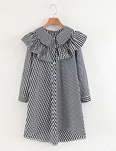 billige Vintage-dronning-Dame Vintage Skift Kjole - Stribet Asymmetrisk