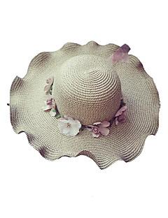 billige Trendy hatter-Dame Grunnleggende / Ferie Stråhatt / Solhatt Blomstret