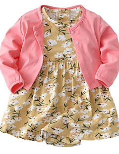 billige Sett med babyklær-Baby Pige Ensfarvet Trykt mønster Farveblok Langærmet Tøjsæt
