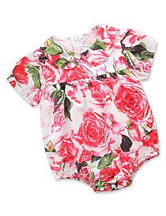 billige Babytøj-Baby Pige Blomstret / Trykt mønster Kort Ærme En del