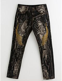 billige Herrebukser og -shorts-Herre Punk & Gotisk Bomull Tynn Jeans / Chinos Bukser - dratt, Fargeblokk / Helg