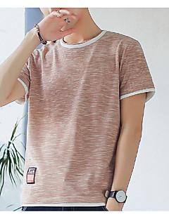 ราคาถูก เสื้อบุรุษ-สำหรับผู้ชาย เสื้อเชิร์ต พื้นฐาน ฝ้าย คอกลม ลายบล็อคสี / แขนสั้น