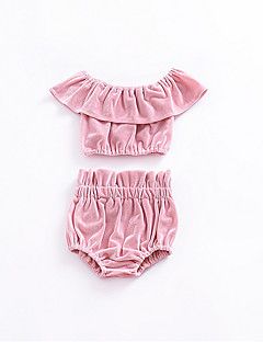 billige Babytøj-Baby Pige Ensfarvet Uden ærmer Tøjsæt