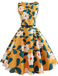 billige Vintage-dronning-Dame Vintage Skede Kjole - Blomstret Knælang