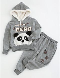 billige Tøjsæt til piger-Unisex Tøjsæt Daglig I-byen-tøj Ensfarvet, Bomuld Polyester Vinter Efterår Langærmet Tegneserie Grå Gul