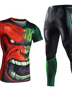 billige Løbetøj-Herre T-shirt og bukser til løb og jogging - Mørkegrå, Bourgogne, Mørkegrøn Sport 3D Print Spandex Kompressionstøj Fitness, Træningscenter, Træning Sportstøj Hurtigtørrende, Svedreducerende Høj