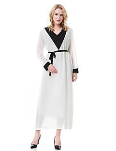 baratos Vestidos-Mulheres balanço / Abaya / Kaftan Vestido Estampa Colorida Médio