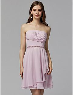 baratos Vestidos de Formatura-Linha A Sem Alças Curto / Mini Chiffon Coquetel / Baile de Formatura Vestido com Miçangas / Pregas de TS Couture®