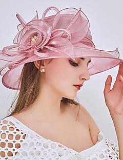 billige Hatter til damer-Dame Fest / Ferie Bøttehatt / Solhatt - Perler / Drapering / Netting, Ensfarget
