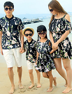 billige Sett med familieklær-Familie Look Blomstret Kortermet Tøysett