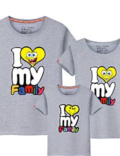 billige Sett med familieklær-4 deler Barn Familie Look Ensfarget / Bokstaver Kortermet T-skjorte